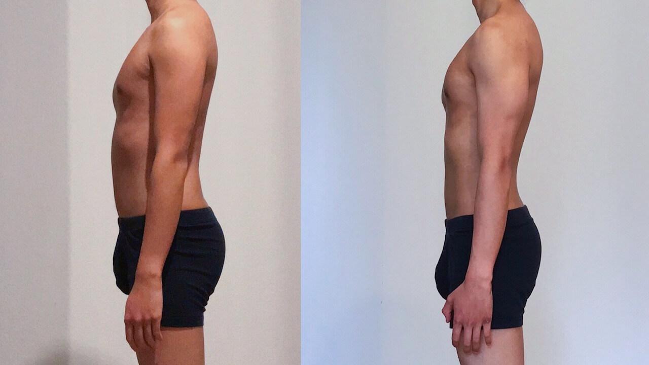 0 vs 30 weeks Freeletics Transformation left